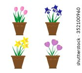 spring flowers in pots isolated ... | Shutterstock .eps vector #352100960