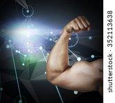 muscular man flexing for camera ... | Shutterstock . vector #352113638