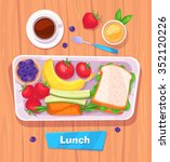 healthy vector lunch with... | Shutterstock .eps vector #352120226