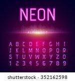 neon alphabet letters font... | Shutterstock . vector #352162598