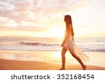 happy carefree woman enjoying... | Shutterstock . vector #352168454