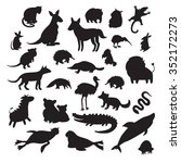 Stock vector australian animals silhouettes isolated on white background vector illustration big vector set 352172273
