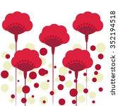 vector illustration red poppies ... | Shutterstock .eps vector #352194518