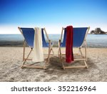 red and white towels and sand... | Shutterstock . vector #352216964
