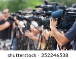 news conference. filming an... | Shutterstock . vector #352246538