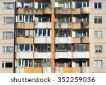 Dirty Facade With Balconies An...