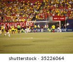 EAST RUTHERFORD NJ - AUGUST 12: Venezuelan players celebrate the first goal against Colombia during the International Friendly match at Giants Stadium on August 12 2009 in East Rutherford NJ - stock photo