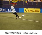 EAST RUTHERFORD NJ - AUGUST 12: Renny Vega #1 of Venezuela handles the ball against Colombia during the International Friendly match at Giants Stadium on August 12 2009 in East Rutherford NJ - stock photo