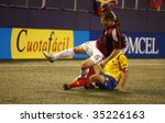 EAST RUTHERFORD NJ - AUGUST 12: collision for the ball during the International Friendly match Venezuela Colombia at Giants Stadium on August 12 2009 in East Rutherford NJ - stock photo