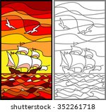 caravel. sailing vessel in the...