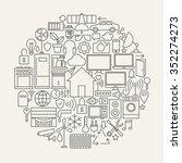 technology house line icons set ... | Shutterstock .eps vector #352274273