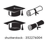 vector black graduation cap and ... | Shutterstock .eps vector #352276004