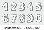 hand drawn white vector numbers ... | Shutterstock .eps vector #352282400