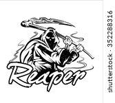 hand inked grim reaper... | Shutterstock .eps vector #352288316