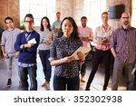 portrait of staff standing in... | Shutterstock . vector #352302938
