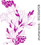 flowers contour drawing ... | Shutterstock .eps vector #352306928