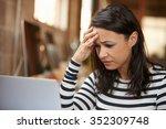 stressed female designer works... | Shutterstock . vector #352309748