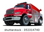 vector cartoon fire truck.... | Shutterstock .eps vector #352314740