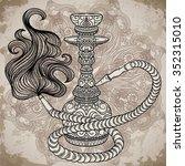 hookah with oriental ornament... | Shutterstock .eps vector #352315010