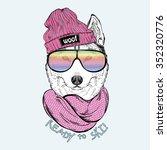 fashion portrait of cute dog... | Shutterstock .eps vector #352320776