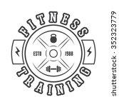 gym logo in vintage style.... | Shutterstock . vector #352323779