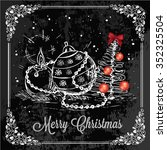 vector vintage christmas card... | Shutterstock .eps vector #352325504