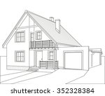 outline drawing of a house with ... | Shutterstock .eps vector #352328384