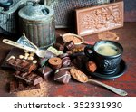 coffee and assorted chocolate ... | Shutterstock . vector #352331930