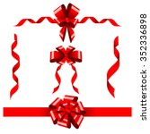 vector set of red ribbons and... | Shutterstock .eps vector #352336898
