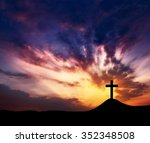 silhouette crosses on a hill ... | Shutterstock . vector #352348508