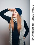 winter girl looking to the... | Shutterstock . vector #352349579