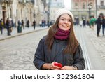 smiling young woman  wearing in ... | Shutterstock . vector #352361804