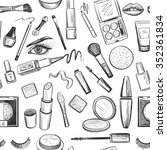 glamorous make up seamless... | Shutterstock . vector #352361834