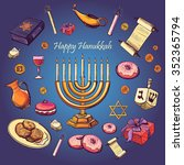 happy hanukkah holiday greeting ... | Shutterstock . vector #352365794