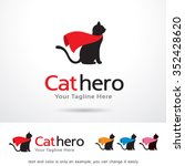 Stock vector cat hero logo template design vector 352428620