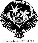 woodcut flying owl with... | Shutterstock .eps vector #352430654