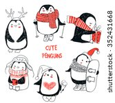 set with cute penguins | Shutterstock .eps vector #352431668
