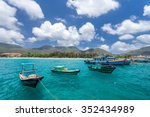 vietnamese fishing boats on a... | Shutterstock . vector #352434989