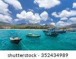 vietnamese fishing boats on a... | Shutterstock . vector #352434989