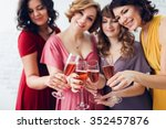 group of happy stylish women... | Shutterstock . vector #352457876