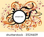 vector circle frame on floral... | Shutterstock .eps vector #3524609