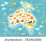 animals world map  australia.... | Shutterstock .eps vector #352461830