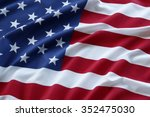closeup of ruffled american flag | Shutterstock . vector #352475030