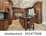 kitchen in luxury home with... | Shutterstock . vector #352477838