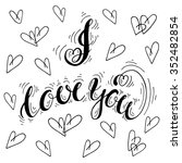 i love you  handdrawn... | Shutterstock .eps vector #352482854