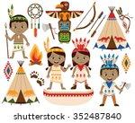 american indian   tribal kids | Shutterstock .eps vector #352487840