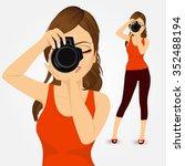 portrait of beautiful young... | Shutterstock .eps vector #352488194