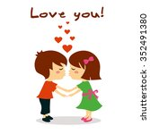couple in love kissing  love you | Shutterstock .eps vector #352491380