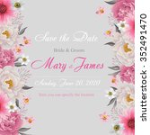 flower wedding invitation card  ... | Shutterstock .eps vector #352491470