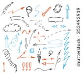 vector hand drawn arrows set... | Shutterstock .eps vector #352492919